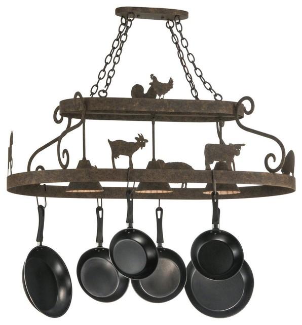 meyda 46 barn animals with downlights pot rack
