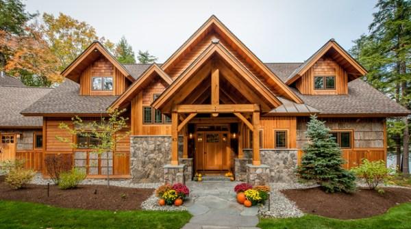 timberframe lake house - rustic