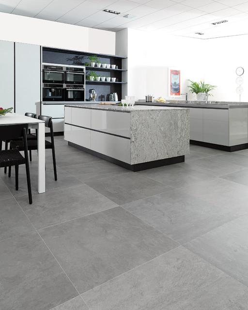 Concrete Look Tiles Rodano Silver Industrial Kitchen