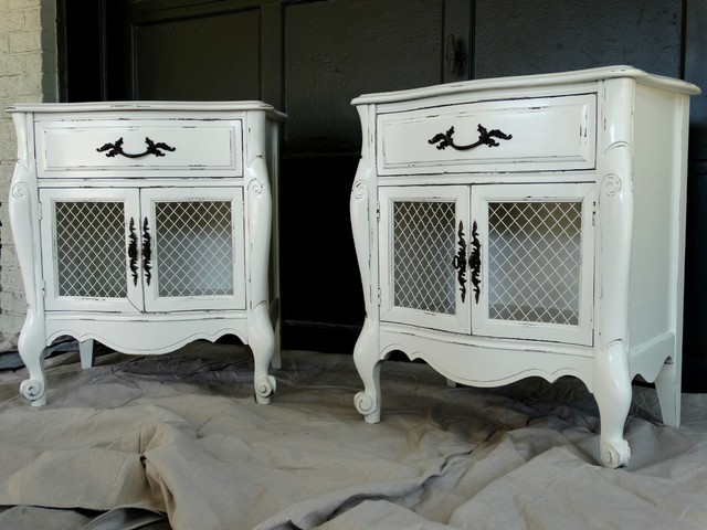 White painted nightstands  Farmhouse  Bedroom  Houston