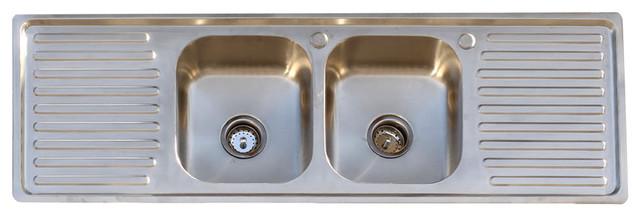304 stainless steel vintage style farm sink stamp metal double drainboard 60