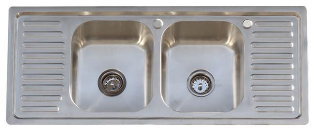 304 stainless steel vintage style farm sink stamped metal double drainboard