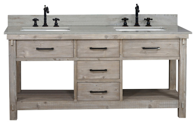 72 Rustic Solid Fir Double Sink Vanity Driftwood Farmhouse Bathroom Vanities And Sink Consoles By Infurniture Inc
