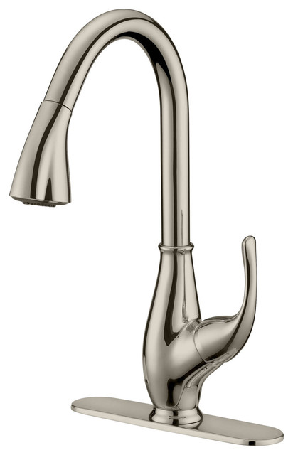 brushed nickel finish pull down kitchen faucet lk7b 1 hole 3 holes