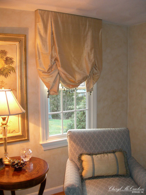 Gold Silk Roman Shades  Curtains  Boston  by Cheryl