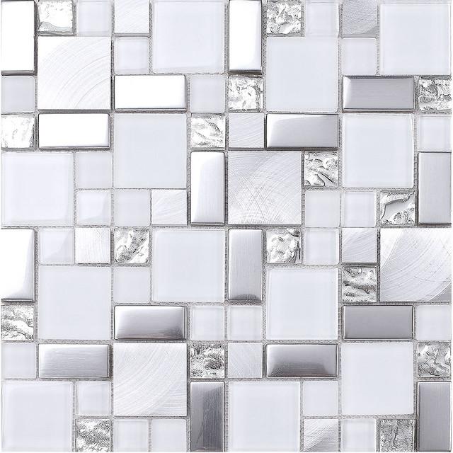grey kitchen backsplash island wood white gray metal glass mosaic tile modern by