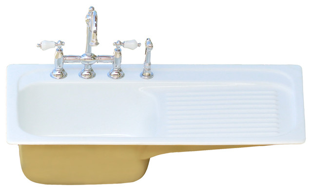 42 farm sink churlish green single drainboard drop cast iron kitchen sink