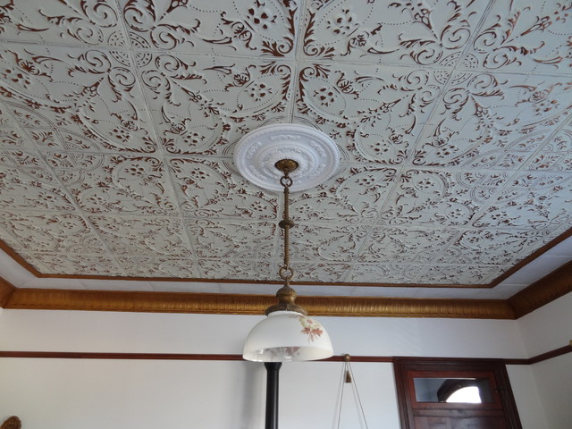 Living room tin ceiling tile installation American made