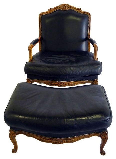 leather bergere chair and ottoman stretch dining covers canada used chateau d ax transitional armchairs accent chairs by chairish