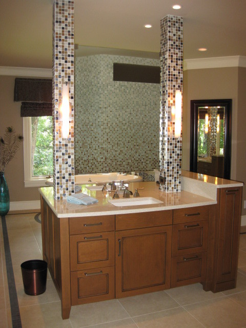 Double Sided Vanity With Floating Mirror Contemporary