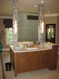 Double sided vanity with 'floating' mirror - Contemporary ...