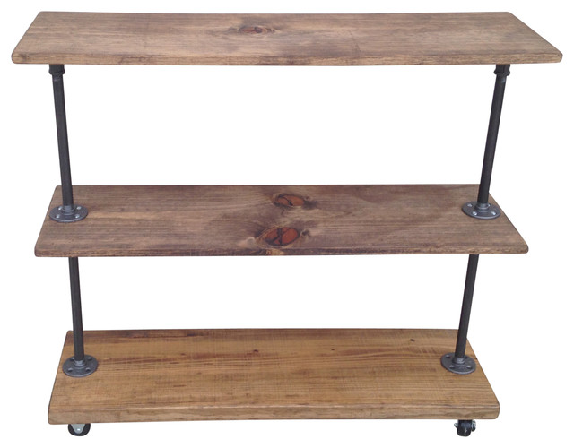 rush street urban industrial rolling storage rack with 3 shelves