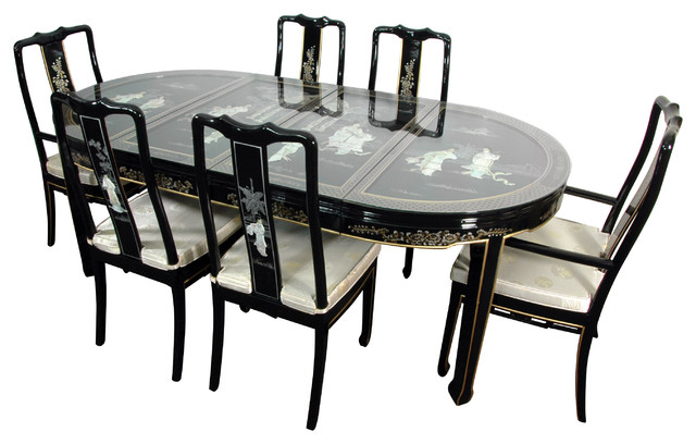 Lacquer Dining Room Set Black Mother Of Pearl Asian Dining Sets By Oriental Furniture