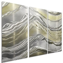 Metal Wall Art Decor For Living Room Set Silver And Gold 3-panel Modern ...