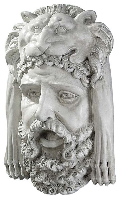 Hercules Bust With Nemean Lion Headdress Wall Sculpture mediterranean-wall-sculptures