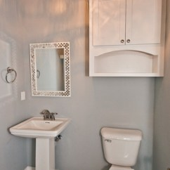 Lowes Kitchen Cabinets Sale Aid Professional White Half Bath With Black And Tile Floor ...