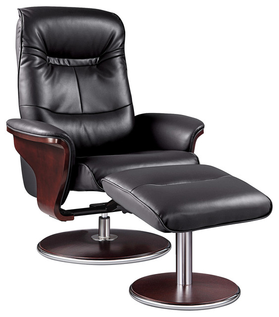 reclining chair with ottoman leather kai kristiansen chairs milano swivel recliner and modern black