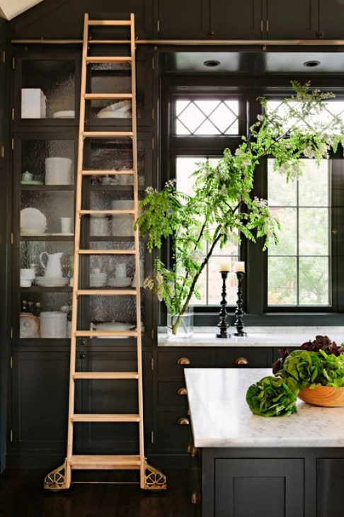 Image result for library ladder kitchen