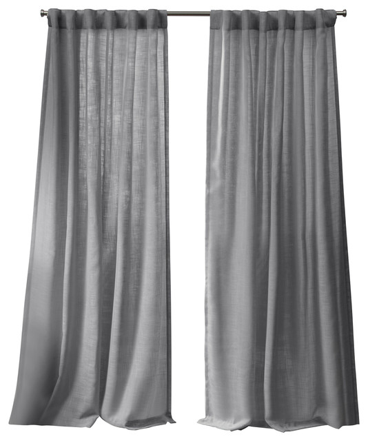 bella window curtain panel with hidden tab top set of 2 silver 54 x84
