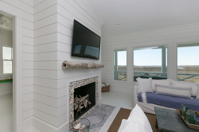 coastal living room furniture sets guest ideas white island with wooden shiplap walls ...
