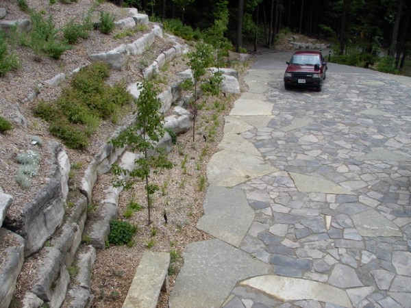 natural stone driveway and hillside