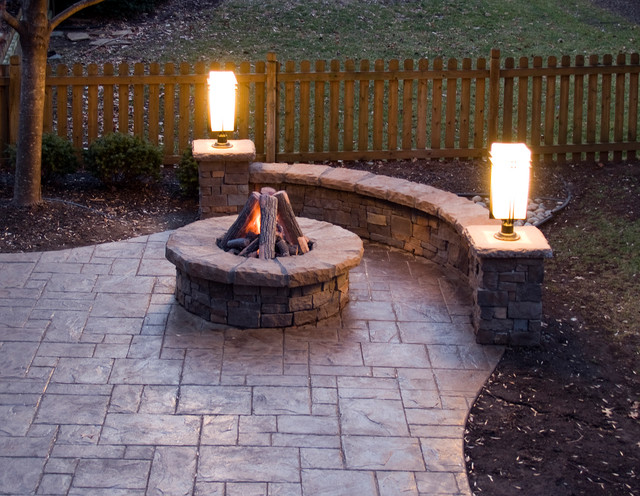 swivel patio chairs sale triple papasan chair stamped concrete patio, gas fire pit, stone walls and lighting - traditional kansas ...