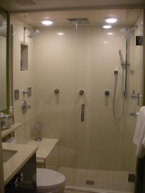 Shower enclosure Quartz Slab or grouted tile