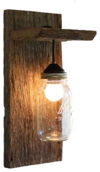 Barn Wood Mason Jar Light Fixture - Rustic - Wall Sconces ...