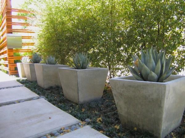 pots in landscape - modern
