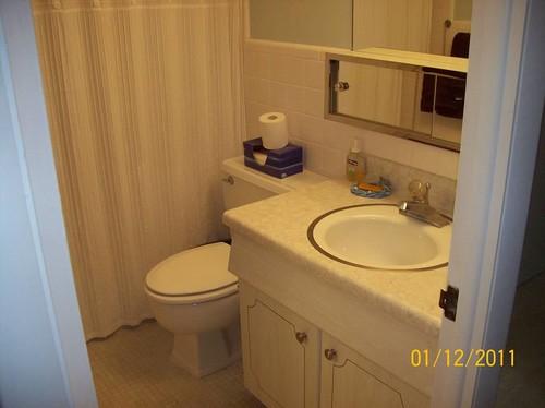 Very small full bathroom  beadboard wainscoting or shiplap