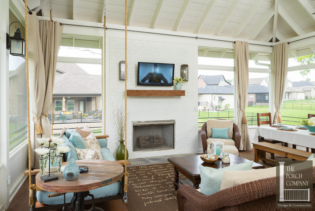 Screened Porch With All Weather Porch Curtains Porch Nashville