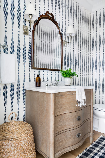 The Knoll House I Interiors beach-style-powder-room
