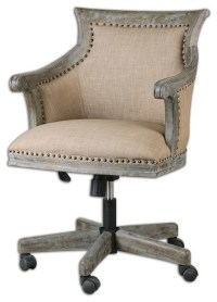 Kimalina Linen Desk Chair - Traditional - Office Chairs ...