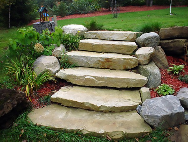 ledge sandstone steps - natural
