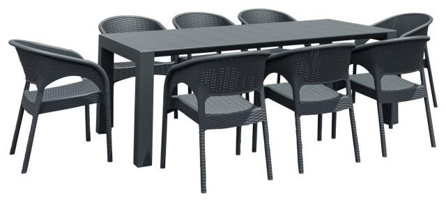 compamia panama 9 piece extendable patio dining set dark gray