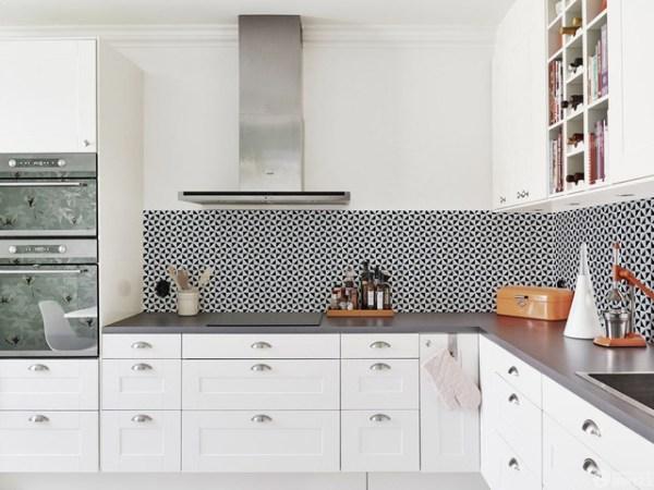 scandinavian kitchen tile designs Modern Kitchen Backsplash Triangular Porcelain Mosaic Tile