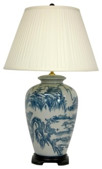 "29"" Blue and White Chinese Landscape Lamp - Asian - Table ..."