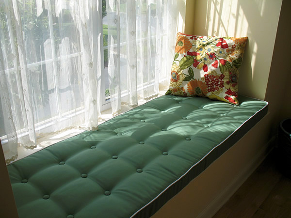 Soft Green Window Seat Cushion With Buttons Traditional