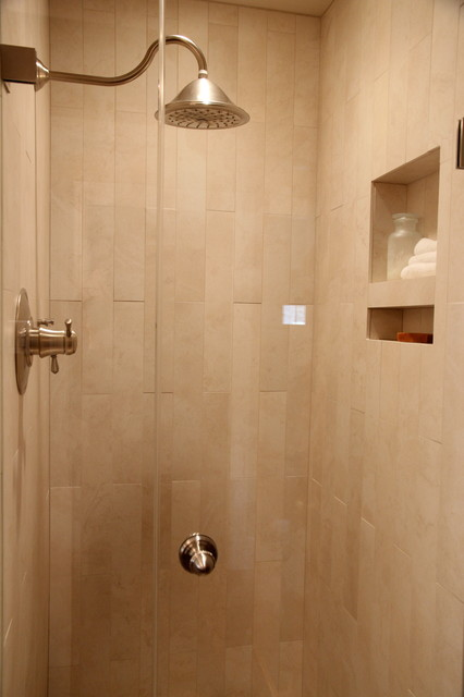 Shower Stall With Rain Shower Head And Niche For Storing