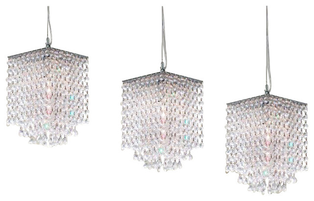 3 Piece Set Modern Crystal Pendant Chandelier H 9xw 6 Traditional Chandeliers