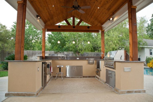 outdoor kitchen covered patio Outdoor Kitchen and Patio Cover in Katy, TX - Traditional