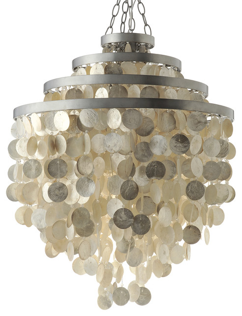 Round Chandelier With Capiz Shells Champagne Beach Style Pendant Lighting