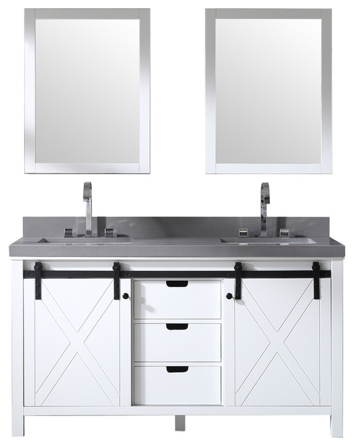 60 Double Bowl Vanity With Barn Door White With 2 Gray Quartz And Mirrors Transitional Bathroom Vanities And Sink Consoles By Willow Bath And Vanity Llc