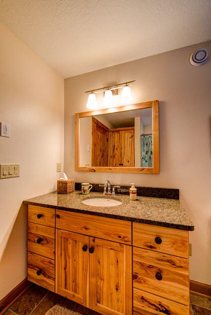 Rustic hickory vanity and granite top  Rustic  Bathroom  Minneapolis  by Dovetail Kitchen
