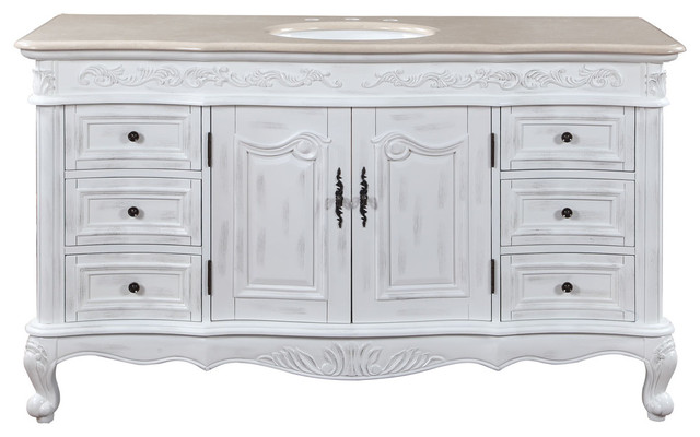 60 inch large distressed white bathroom vanity single sink marble traditional