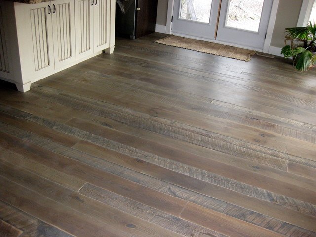 Textured top plank flooring with jacobeangrey stain