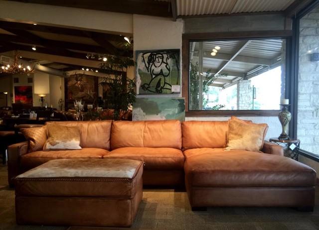 Rustic Leather Sofa by Eleanor Rigby Austin Tx  Houston