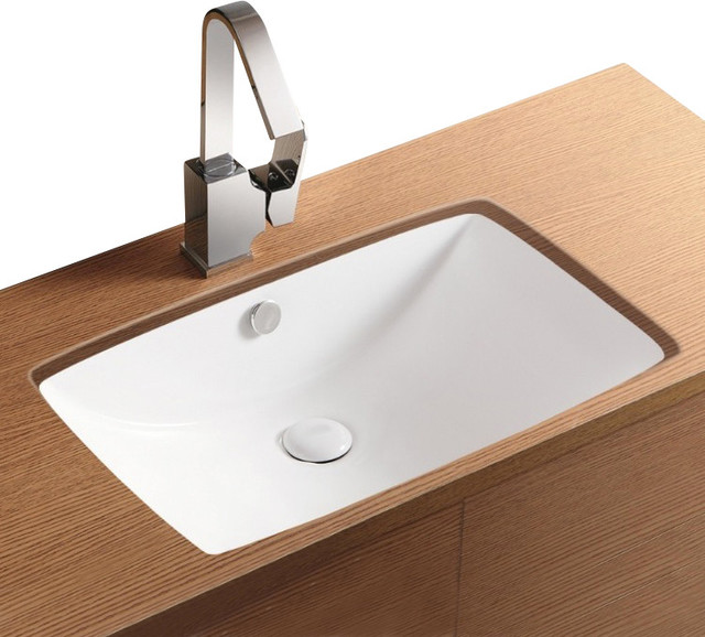 rectangular white ceramic undermount bathroom sink - contemporary