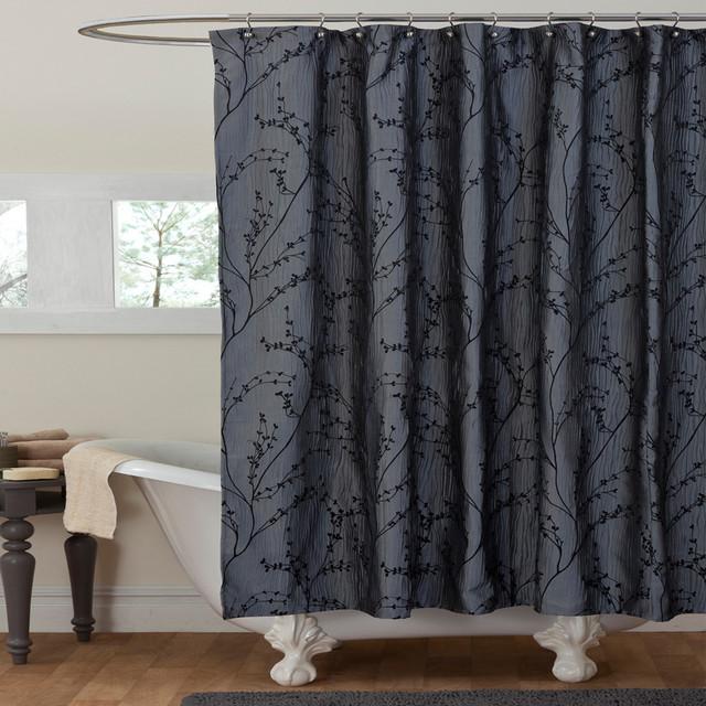 Lush Decor Flower Texture Gray Shower Curtain