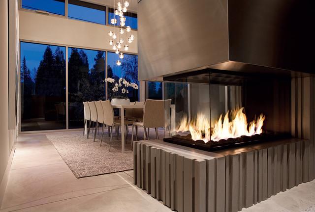 Modern Fireplace Design  Contemporary  Dining Room  San